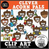 Clever Acorn Pals Clip Art