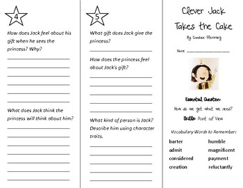 Clever Jack Takes the Cake Trifold - Wonders 3rd Grade Unit 5 Week 1