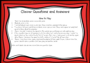 Clever Questions and Answers Card Game