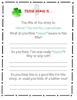 Clever Tom and the Leprechaun, by Linda Shute - A Complete Book Response Journal