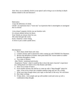 Cliche Lesson for High School English Classes