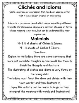 Kindergarten-Pre-School- 1st Grade-Writing Prompts - Clichés and Idioms