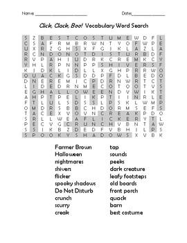 Click, Clack, Boo! Vocabulary Word Search