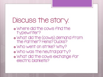 Click, Clack Moo Cow That Type Discussion Questions