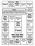 """Click Clack Moo: Cows That Type""  comprehension game board"
