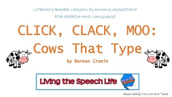 Click, Clack, Moo: Cows That Type Literacy-based lesson plan assistant
