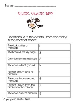 Click, Clack, Moo: Cows That Type Math and Literacy Unit