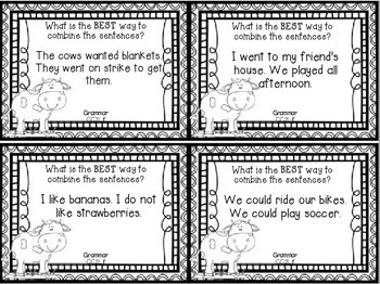 Click, Clack, Moo, Cows That Type Review Task Cards Houghton Mifflin Journeys