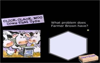 Click Clack Moo, Cows That Type SmartBoard comprehension activity