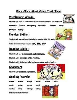 Click Clack Moo Cows that Can Type - Weekly Skill Sheet - 2nd Grade Treasures