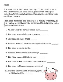 """""""Click, Clack, Moo: Cows that Type"""" Comprehension, Writing and more"""