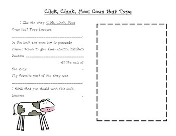 """""""Click Clack Moo: Cows that Type"""" Reading Response FREEBIE!"""
