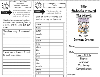 Click, Clack, Moo: Cows that Type Skills Trifold aligned to Journeys Lesson 11