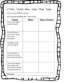 Click Clack Moo Readers Theatre and Cause Effect Worksheet