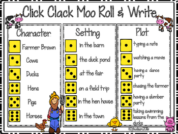 Click Clack Moo Roll and Write