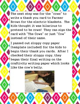 Click Clack Moo Thank You Writing and Craftivity