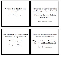 Click, Clack, Moo questions cards for Board Game