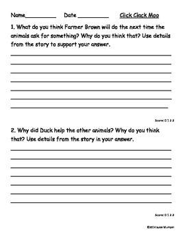 Click, Clack, Moo written comprehension questions