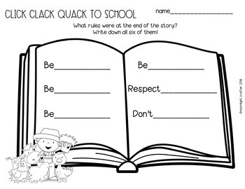Click Clack Quack to School Book Companion with Literacy Activities