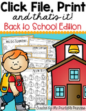 FREE Back to School Activities for Kindergarten