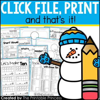 picture relating to The Printable Princess named Wintertime Routines for Kindergarten Cost-free