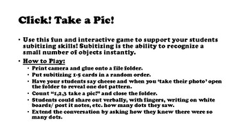 Click! Take a Pic! A Subitizing Game