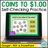 Click and Check Digital Practice Counting Coins to $1.00