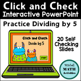 Click and Check Practice Dividing by 5 - Monster Theme