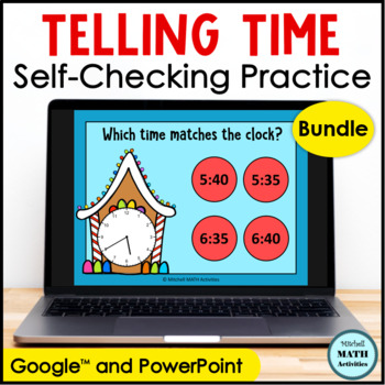 Click and Check Telling Time BUNDLE - Gingerbread Edition