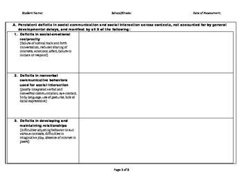 Clickable PDF Worksheet - DSM-V Autism Diagnositc Criteria