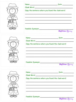 Clicking and Clunking Reading Strategy Organizer