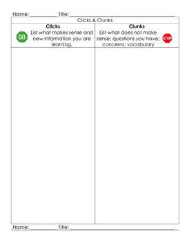 Clicks and Clunks Guided Reading Lesson - Self Monitoring