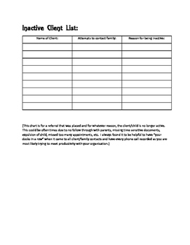 Client List Organization Sheet