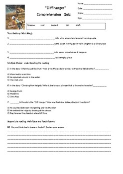 Cliff Hanger Reading Street Comprehension Quiz 4th grade G4