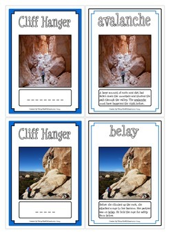 Cliff Hanger Vocabulary Cards