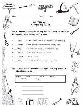 Cliffhanger Vocabulary Quiz