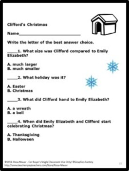 Clifford's Christmas Comprehension Questions Task Cards & Worksheet
