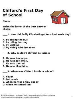 Clifford's First Day of School Literacy