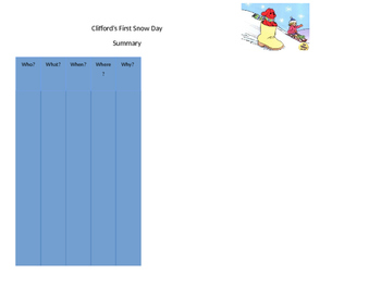 Clifford's First Snow Day Graphic Organizers