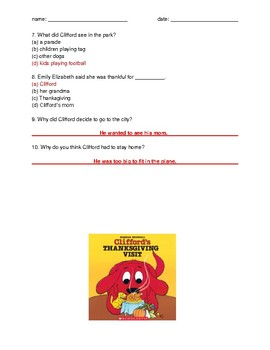 Clifford's Thanksgiving Visit quiz