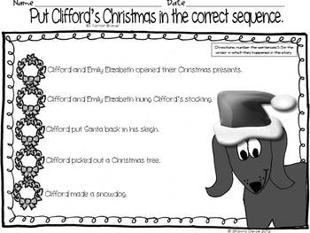 Sequencing Freebie inspired by Clifford's Christmas
