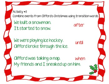 Clifford's Christmas Reading Sequencing, Writing Freebie aligned to Common Core!