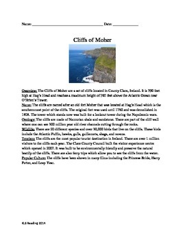 Cliffs of Moher Ireland- Review Article Questions Vocabulary Word Search