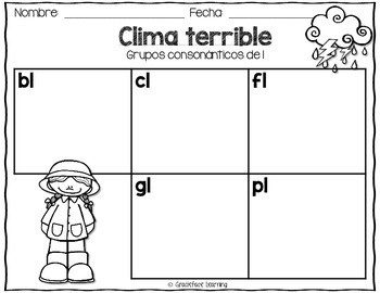 Clima terrible – A Spanish Phonics Center for L blends