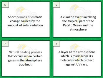 Climate Vocabulary Exit Tickets