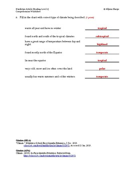 Climate Article (Reading Level 1) Comprehension Worksheet