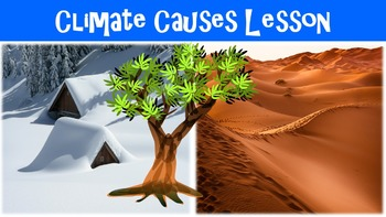 Climate Causes Lesson with Power Point, Worksheet, and Vocabulary Page