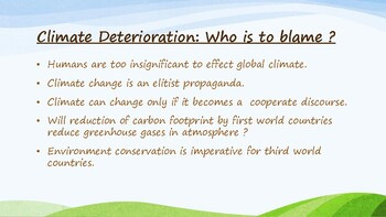 Climate Change - Debate and Discussion Topics