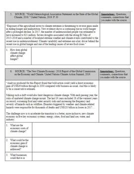 Climate Change Document Analysis and Writing Assignment