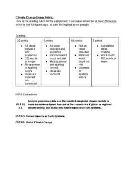 Climate Change Essay Graphic Organizer and Rubric